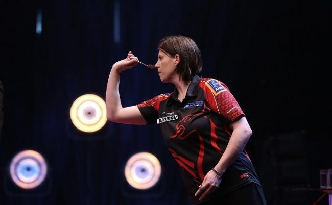 INSPIRATION: Ebbw Vale's Rhian Griffiths shone for Gwent against Surrey. Picture: British Darts Organisation