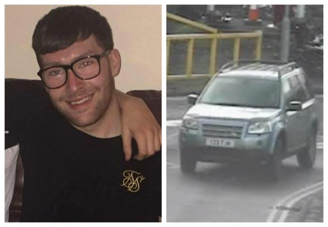 Timothy Higgins and the Land Rover he was driving captured by CCTV cameras entering the Sainsbury's car park on March 4. Pictures: Wales News Service and Gwent Police