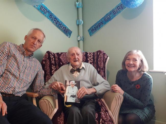 Thomas Haydn Williams celebrates his 100th birthday alongside niece Gillian Barton and her husband Tom Barton