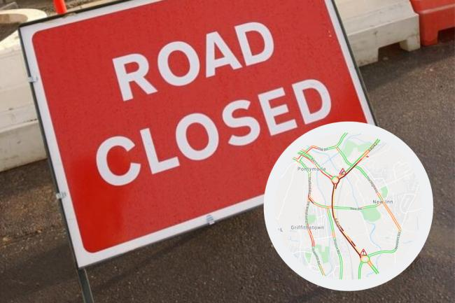 The A4042 has been closed in both directions.