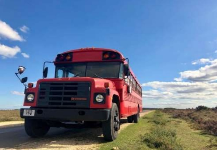 Plan to use American school bus and other restored vehicles for glamping development