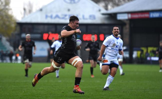 RISING STAR: Dragons back rower Taine Basham has had a superb start to the season and scored a hat-trick against Castres on Saturday