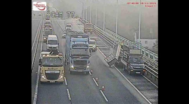 A lorry has shed its load on the Westbound M4 Prince of Wales Bridge. Picture: Traffic Wales.