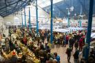 A busy market hall during a previous edition of the Abergavenny Christmas Festival. Picture: Mark Lewis