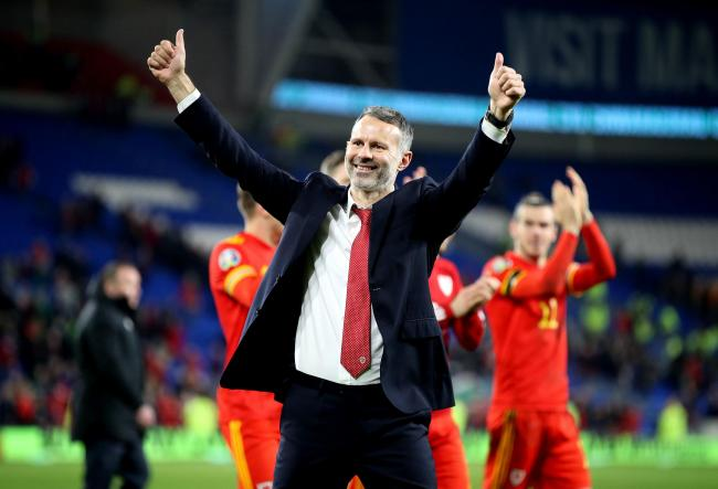 DELIGHTED: Wales manager Ryan Giggs celebrates qualification for Euro 2020