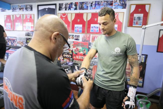 FIGHT FOCUS: Lloyd Germain, right, with trainer Tony Borg. Picture: www.liamhartery.com
