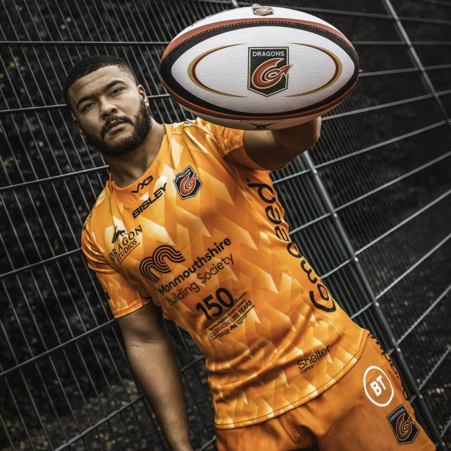 CURIOUS ORANGE: Leon Brown in the Dragons' new kit