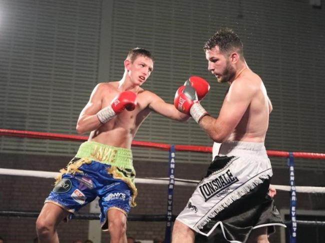 STEPPED UP: Jake Tinklin, left, on his way to beating Zoltan Szabo. Picture: www.liamhartery.com