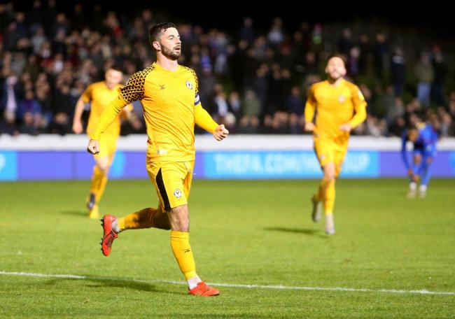 VICTORY: Newport County striker Padraig Amond celebrates his winning goal at Maldon & Tiptree