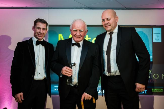 SPECIAL MOMENT: Chepstow's Milton Bradley receives the Lifetime Achievement Award at the Welsh Horse Racing Awards from champion jockey Richard Johnson and Alex James, representing sponsors Dragon TV and Film Studios