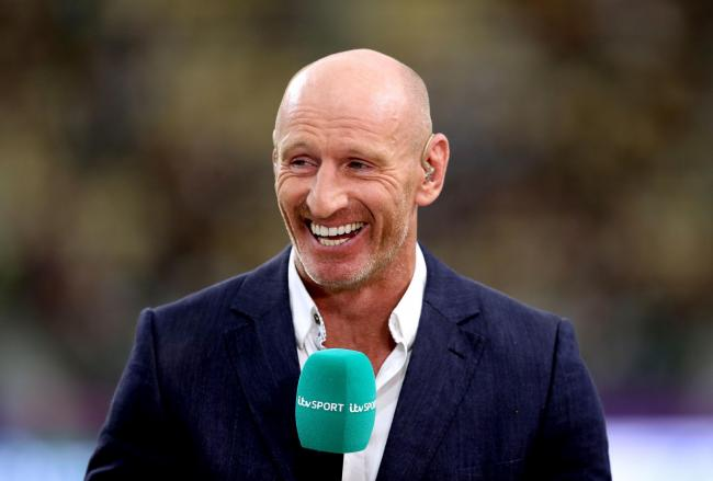 ITV Sport Commentator Gareth Thomas prior to the 2019 Rugby World Cup Quarter Final match at Oita Stadium. PA Photo. Picture date: Sunday October 20, 2019. See PA story RUGBYU Wales. Photo credit should read: David Davies/PA Wire. RESTRICTIONS: Editorial