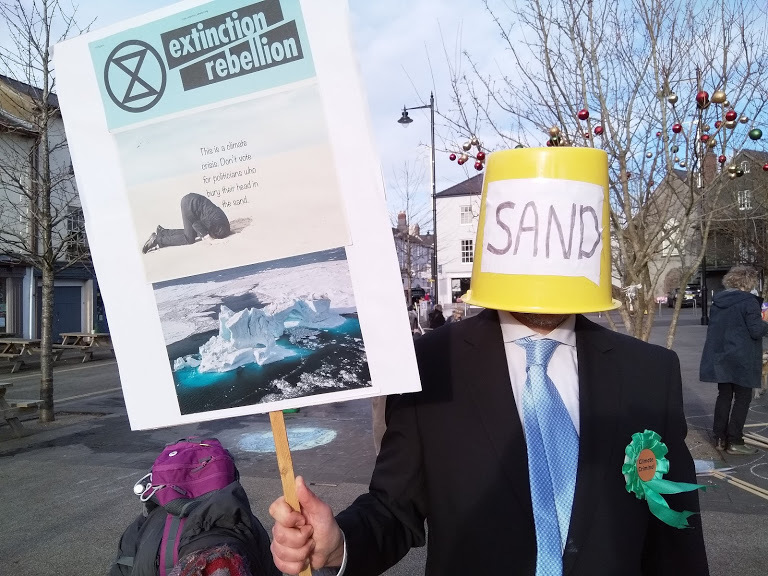 Extinction Rebellion in General Election climate protest in Abergavenny
