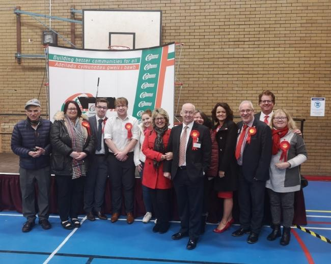 Wayne David and Labour supporters