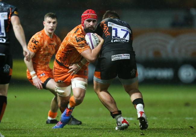 ANGLO-WELSH: Wales lock Cory Hill carrying hard for the Dragons against Worcester in the European Challenge Cup