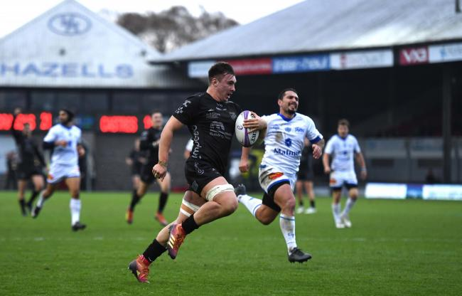 HAT-TRICK: Taine Basham crossed three times in the stunning Euro win against Castres