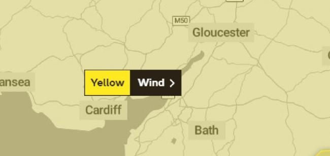 Gwent is set to be hit by strong winds later today, with a Met Office yellow warning in place for all of Wales and England. Source - Met Office