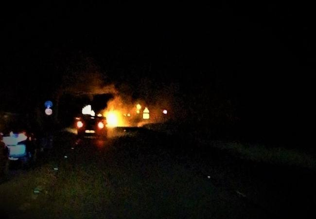 Car fire on A48 near Caerwent Picture: Mark Egan