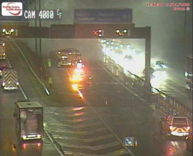 A traffic camera still showing the scene of the reported car fire near Magor Services. Picture: Traffic Wales