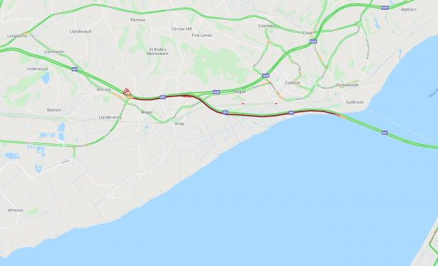 South Wales Argus: A traffic map showing the long tailbacks of congestion (red line) caused by the car fire at Junction 23A of the M4 east of Newport. Picture: The AA