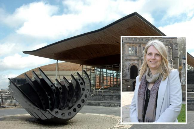 Hannah Blythyn AM (inset) and the Senedd in Cardiff.