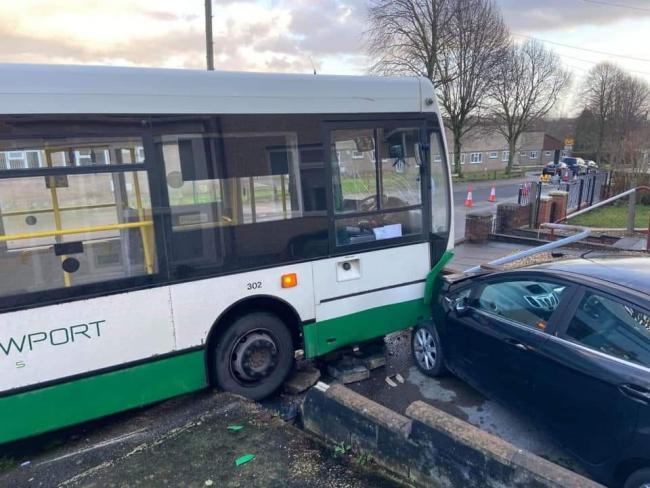 Bus crashes into wall near primary school by Severn Bridge