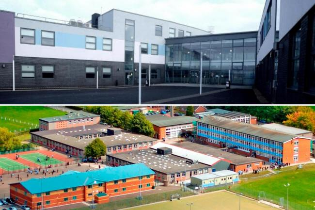 Strike action is planned at two Newport schools in Ferbruary, the NASUWT union confirmed. Pictured are Llanwern High School (top) and Caerleon Comprehensive School.