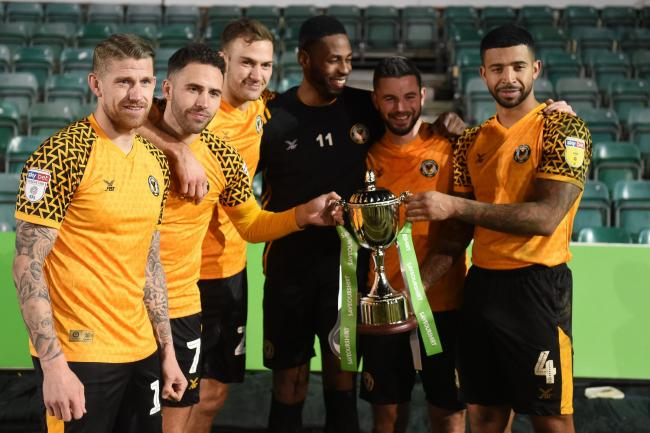 SILVERWARE: Newport County lifted the Unsponsored Derby trophy after beating Macclesfield Town. Pictures: Huw Evans Agency