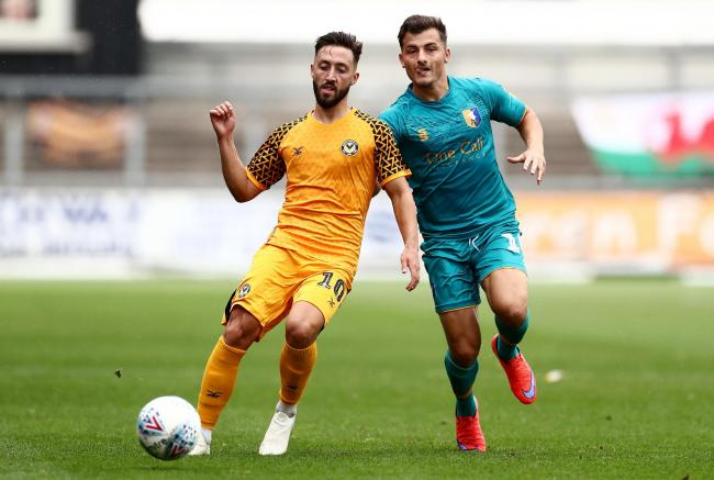 DEAL: New Newport County loan signing Otis Khan, right, in action against the Exiles. Picture: James Marsh.Shutterstock