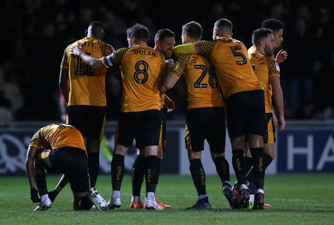 WINNER: Scot Bennett celebrates after putting Newport County on the road to victory over Leicester City under-21s. Pictures: Huw Evans Agency