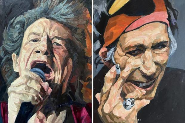 South Wales Argus: Some of Newport artist John Meredith's previous work, of Rolling Stones members Mick Jagger (left) and Keith Richards. Pictures: John Meredith/Instagram