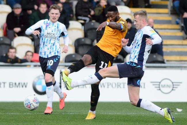 CLOSE: Newport County striker Jamille Matt went closest to scoring against Cambridge United. Pictures: Huw Evans Agency