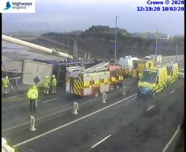 A traffic camera showing the overturned lorry on the eastbound carriageway of the Severn Bridge. Picture: Highways England