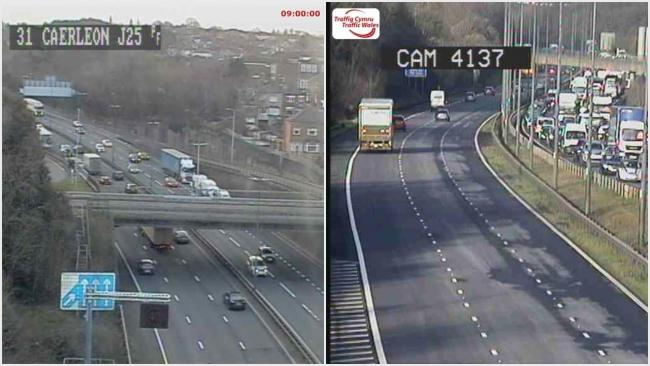 Left, emergency services with vehciles involved in a crash on the hard shoulder eastbound between junctions 25-24 and right, queues between junctions 24-and 23a. Pictures: Traffic Wales
