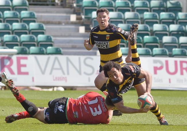 TACKLED: Jon Morris in action for Newport against Llandovery last year