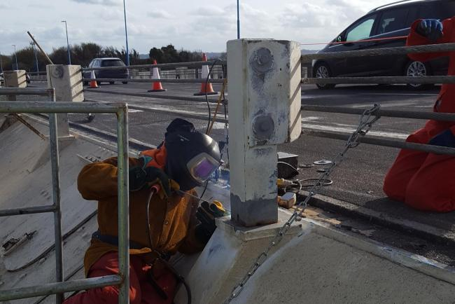 Repair work under way on the M48 Severn Bridge following Monday's lorry crash. Picture: Highways England