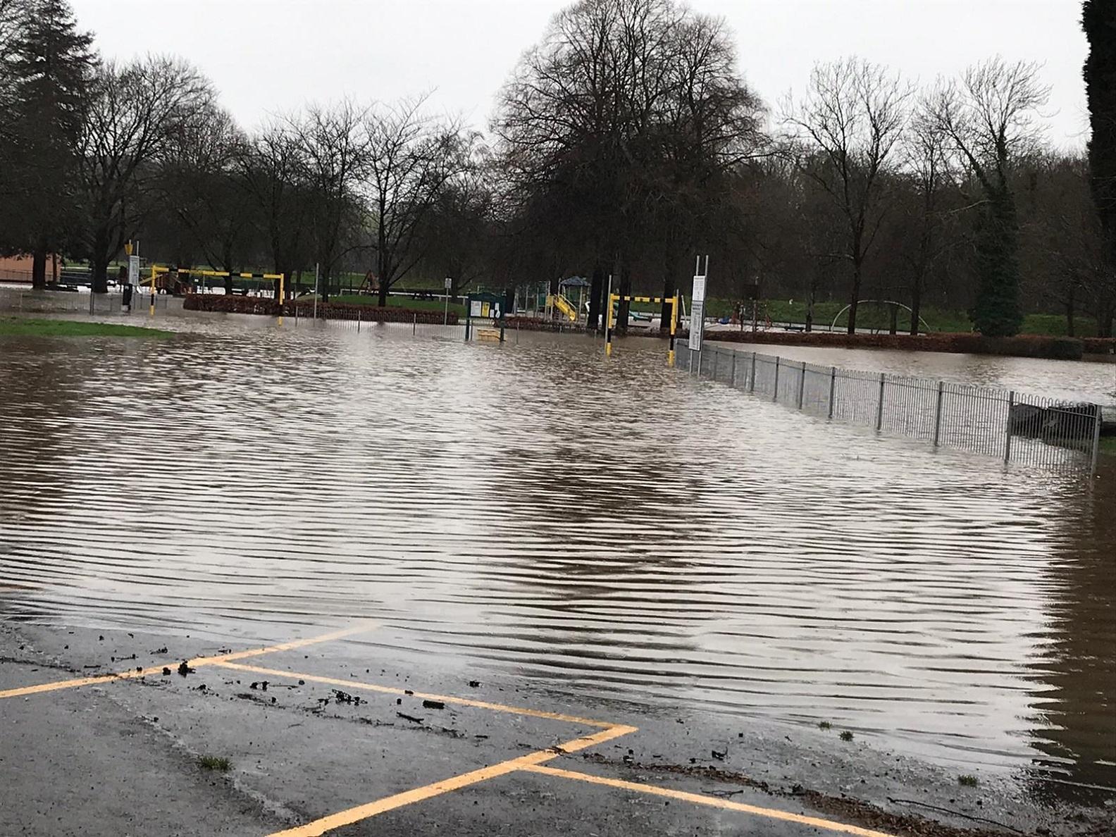 Tredegar Park underwater as Storm Dennis floods overflow on to roads