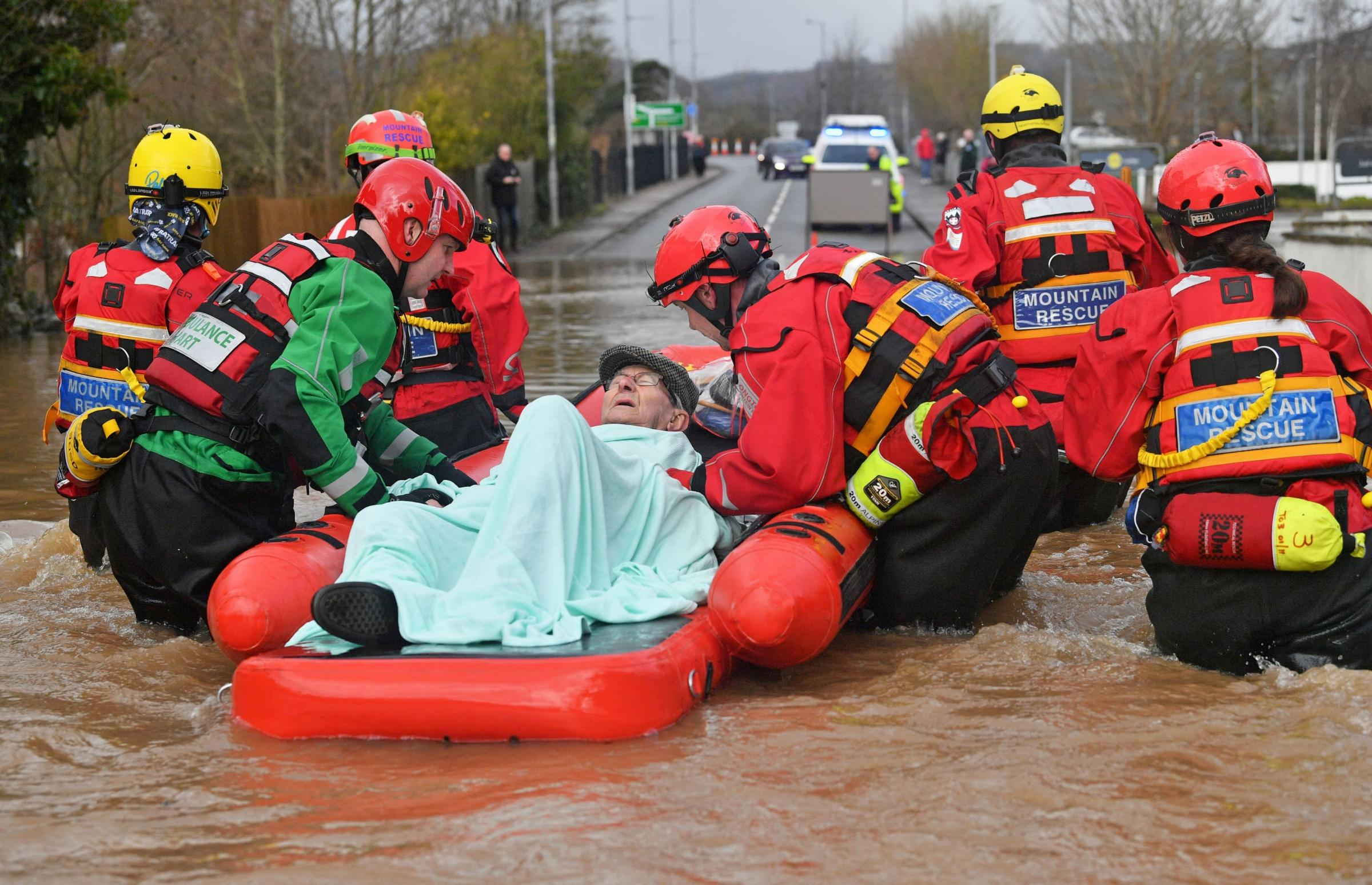 Elderly man rescued by Mountain Rescue teams from his flooded home in Monmouth