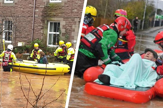 PICTURES: A day of chaos in Monmouth. Left: South Wales Fire and Rescue Service. Right: PA.