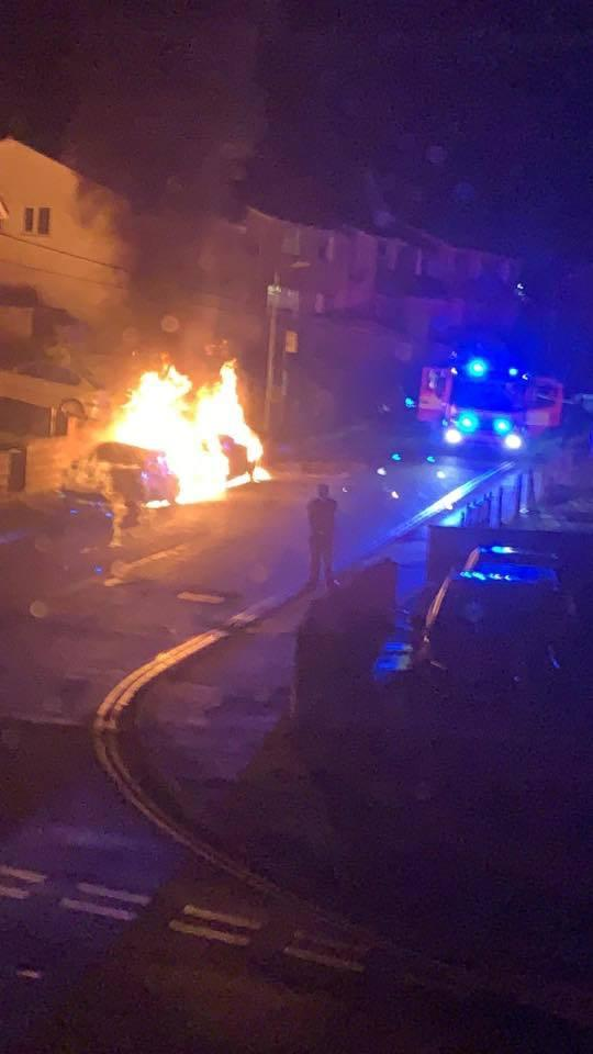FIRE: Cars ablaze in Albany Road, Blackwood. Picture: We Love Blackwood NP12