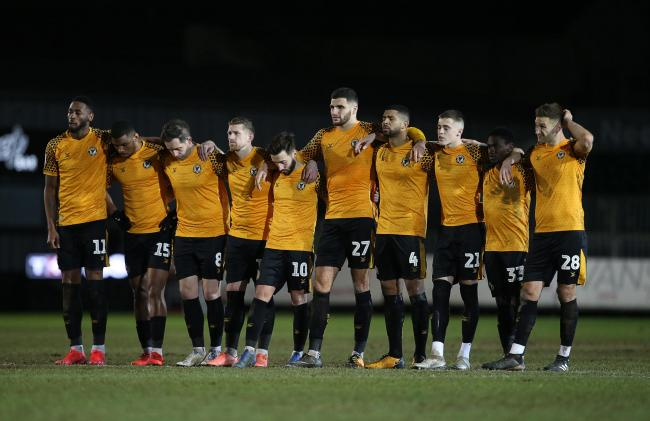 BEATEN: Newport County bowed out of the Leasing.com Trophy after a penalty shootout defeat to Salford City. Pictures: Huw Evans Agency