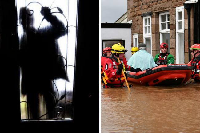 Rogue callers are targetting flood victims. Photo, right: Ben Birchall/PA Wire.