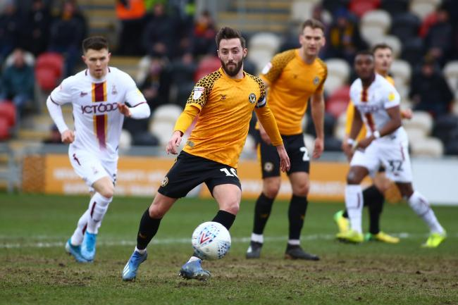 CAPTAIN: Newport County stand-in skipper Josh Sheehan in action against Bradford City. Pictures: Huw Evans Agency