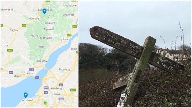 Signpost washes up in Portishead