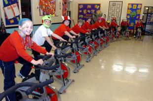 Children from Abertillery Primary School held a cyclethon in aid of Children in Need