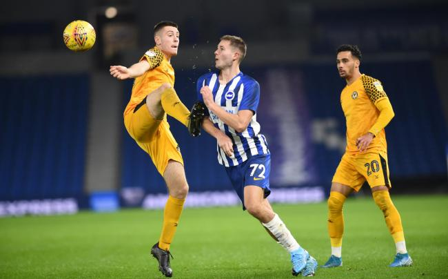 EXPERIENCE: Dominic Jefferies in action for Newport County against Brighton and Hove Albion under-21s in the Leasing.com Trophy in December