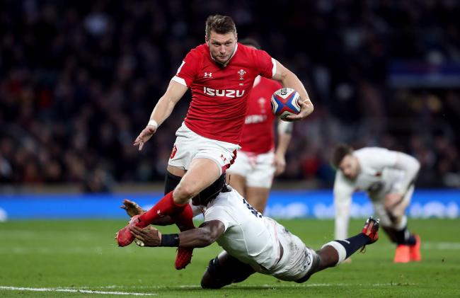Wales' Dan Biggar is tackled by England's Maro Itoje during the Guinness Six Nations match at Twickenham Stadium, London. PA Photo. Picture date: Saturday March 7, 2020. See PA story RUGBYU England. Photo credit should read: David Davies/PA Wire.