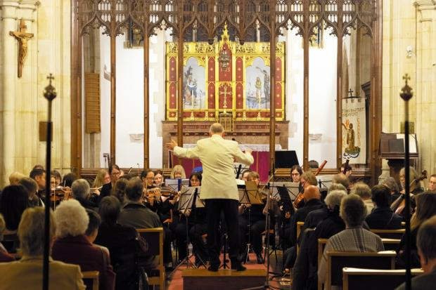 The City of Newport Symphony Orchestra performs at St John the Baptist Churhc in Newport. Picture: CNSO