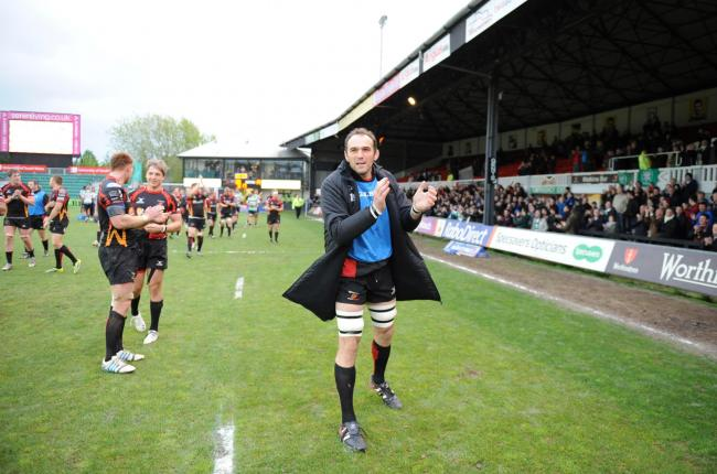 FAREWELL: Lock Robert Sidoli, at the end of his time at Rodney Parade, thanks the Dragons fans after the final whistle of 2013/14's final game