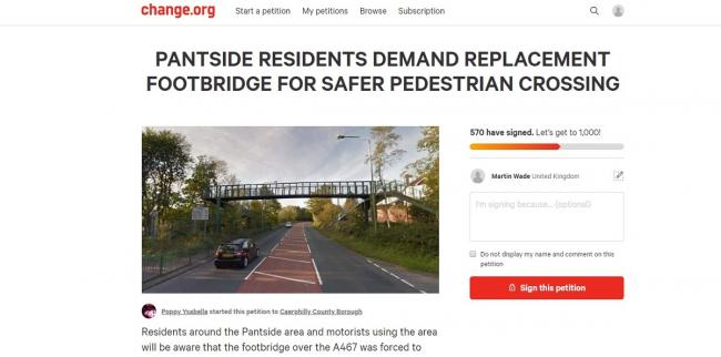 Hundreds sign petition for new footbridge in Caerphilly