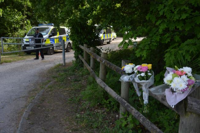 Flowers left outside Havant Thicket